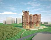 Space planning solutions multistory residential group of 20-24-storey buildings in the Moscow region, Russia