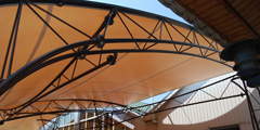 Tent canopy over the summer terrace cafe