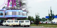Trade and stopping complex with a waiting room for the suburban bus routes in Nalchik, Russia