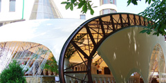 Cafe awning at Theater Square in Essentuki, Russia